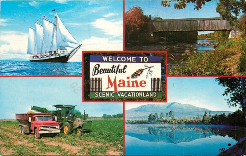 Maine ME Postcard PM 1985 vintage farm equipment John Deere schooner