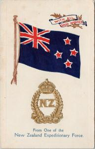 New Zealand NZ Flag Crest from Expeditionary Force Embossed Postcard E52