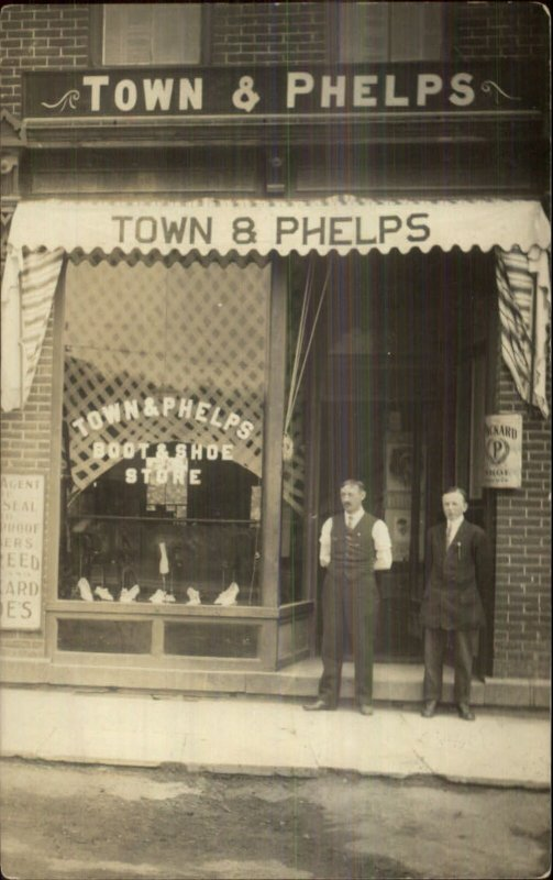Fair Haven VT Town & Phelps Boot & Shoe Store c1910 Real Photo Postcard