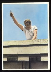 Actor James Dean Postcard, Wearing T-Shirt With Arm Raised