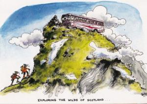 Scotland Old Peoples Bus Dangling On Rock Climber Scottish Comic Humour Postcard
