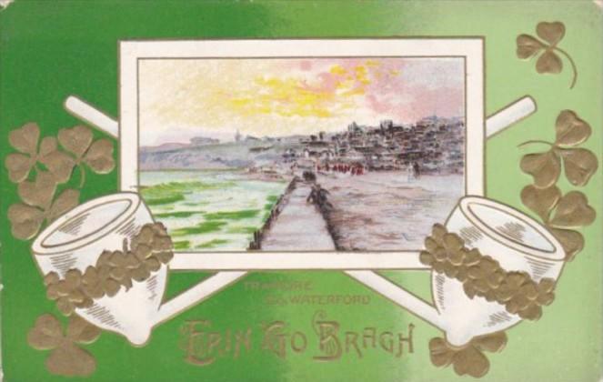 Saint Patrick's Day Erin Go Bragh With Shamrocks & Pipes