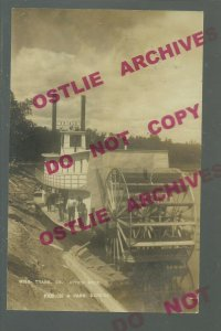Aitkin MINNESOTA RPPC 1908 STEAMBOAT ORIOLE Mississippi River ADVERTISING DPO