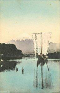 C-1910 Sailboat Mt. Fuji Japan hand colored Postcard 7714