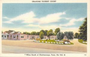 Chattanooga TN~OKeDoak Tourist Court~Roadside Motel~Weeping Willows~1940s Linen