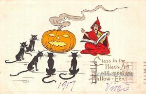 Halloween Post Card Old Vintage Antique 1917