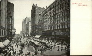 Chicago IL State St. Trolleys c1905 Postcard