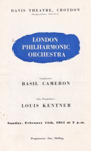 Basil Cameron Louis Kentner LPO Croydon Surrey Classical Theatre Programme