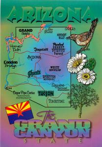 Postcard of Arizona State and Highway Map #3