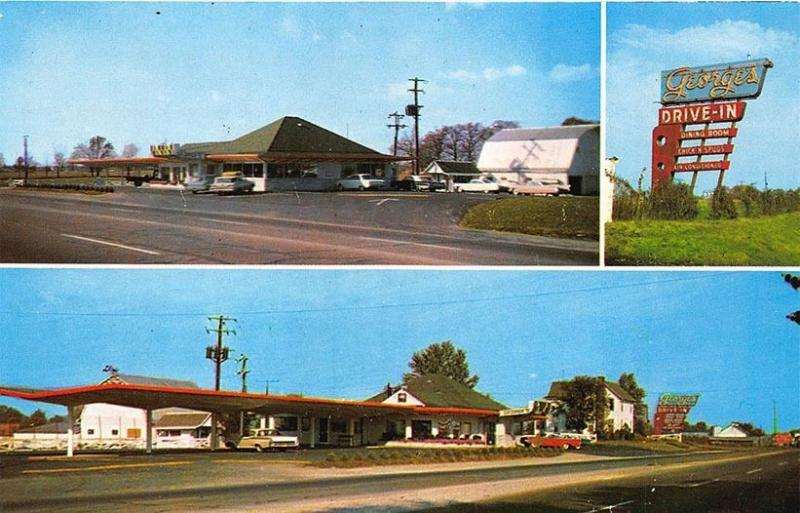 Columbus OH George's Drive In Restaurant Golf Driving Range Old Cars Postcard