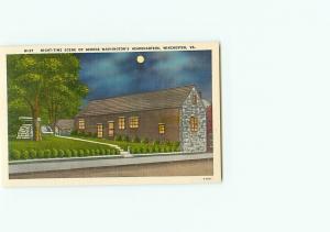Vintage Post Card W-27 Night George Washington Headquarters Winchester VA # 3624