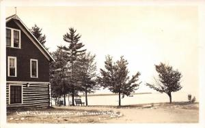 Prudenville Michigan~Lone Pine Lodge along Houghton Lake~1940s RPPC-Postcard