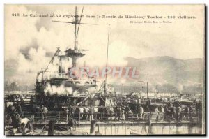 Old Postcard Boat War The Jena armor exploding in the Toulon basin Missiessy