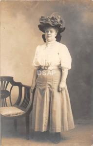 C32/ Belle Valley Byesville Ohio Postcard Large Hat RPPC '07 Well-Dressed Woman