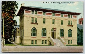 Stamford Connecticut~Woman by Steps of YMCA Building~369 Atlantic Street~1912