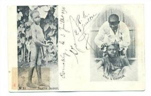 2Views, Fillette Soussou, Chez Le Coiffeur, Guinea, Africa, 1900-1910s
