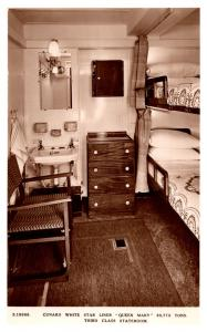R.M.S. Queen Mary,  3rd Class Stateroom Interior , RPC