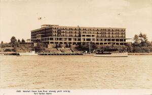 York Harbor ME Marshall House From The River Boats RPPC Postcard