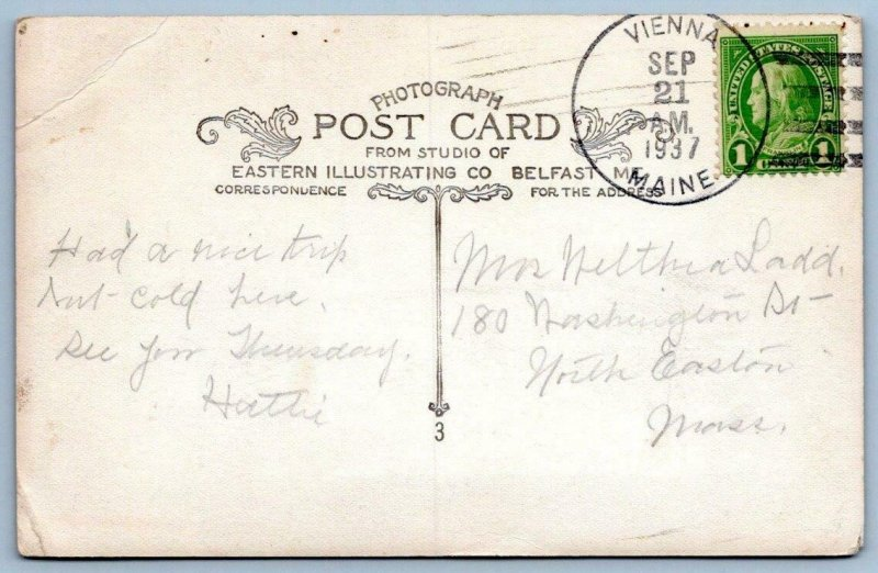 1937 RPPC TWIN SPRUCES VIENNA MAINE*OLD CAR*HOUSE*BARN*TO NORTH EASTON MASS*LADD