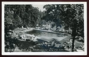 h2172- STE. MARGUERITE Quebec 1950 Alpine Inn Swimming Pool. Real Photo Postcard