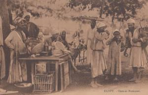 Cairo Open Air Restaurant Antique Egypt Postcard