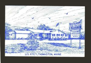 ME View Dave's Restaurant, Route 1 in Thomaston Maine Postcard,Owner David Moody