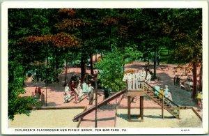 1930s PEN-MAR PARK Pennsylvania Postcard Children's Playground & Picnic Grove
