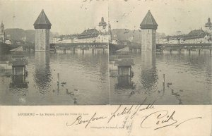 Postcard Stereographic image Switzerland Suisse Lucerne fortress and lake bridge