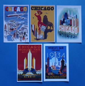 Set of 5 New 1930s Vintage Chicago Travel Poster Postcards 80L