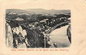 Sachs Schweiz Aussicht von der Bastei nach dem Winterberg River Boat Postcard