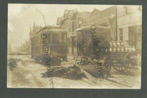 Portland OREGON RP 1907 ICE STORM Ruins MILK WAGON Trolley DEAD HORSES Streetcar