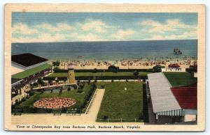 Postcard VA Buckroe Beach Chesapeake Bay From Buckroe Park Vintage Linen E11
