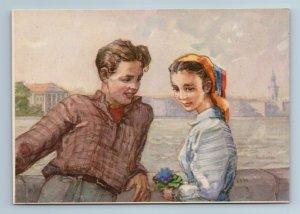 1956 TEEN BOY n GIRL Spring Socialist Date by Ostrova RARE Soviet USSR Postcard