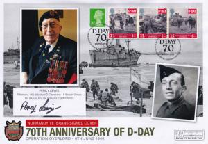 Percy Lewis Rifleman Oxford & Bucks Light Infantry D-Day Hand Signed WW2 FDC