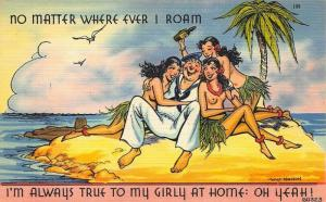 Sailor No Matter Where I Roam Nude Women Walt Munson Artist Linen Postcard