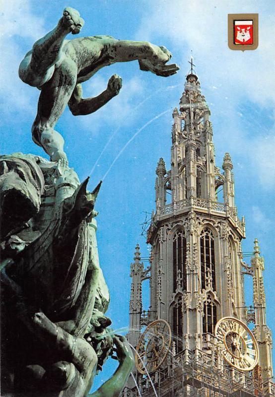 Netherlands Antwerpen Catehdral with Brabo Kathedrale Statue