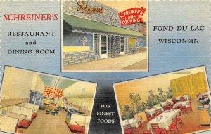 SCHREINER'S Fond Du Lac, WI Restaurant Roadside c1940s Linen Vintage Postcard