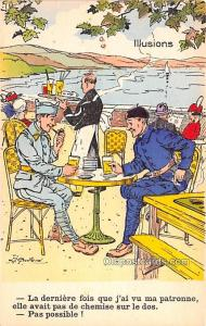 Military Comic Postcard, Old Vintage Antique Post Card Illusions Unused