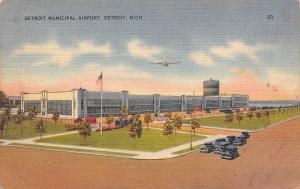 Detroit Michigan~Airplane Over Municipal Airport~Art Deco Building~1947 Linen PC