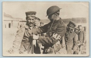 Postcard WW1 WWI US Soldier MP Searching German Prisoner RPPC Real Photo T2