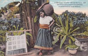 MEXICO, PU-1923; Mexican Criada House Servant holding water pottery