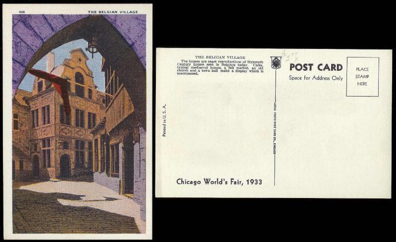 Chicago Worlds Fair 1933 Belgian Village unused