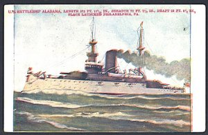 USA Postcard Battleship USS Alabama UDB