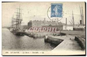 Old Postcard Le Havre Les Docks Boat Warehouse