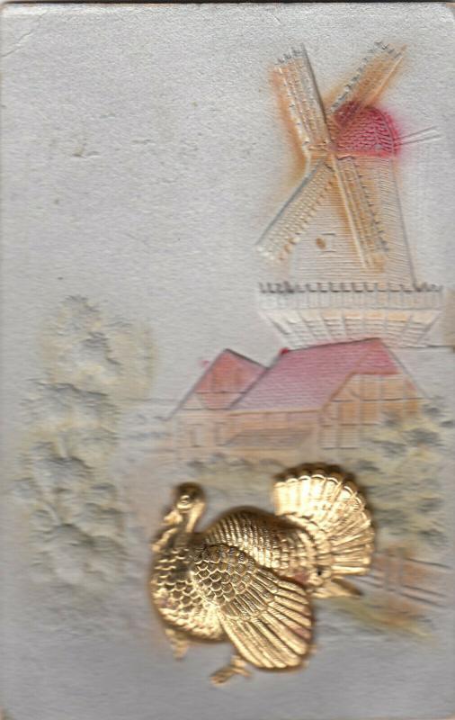 THANKSGIVING Greetings, Metal Turkey & Windmill, 00-10s