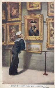 ENGLAND, UK, 1910s; Sailor looking up at painting of Admiral Nelson, TUCK # 8719