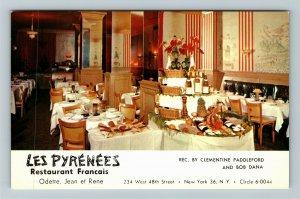 New York NY-New York, Les Pyrenees, Supper Club, Advertising, Chrome Postcard