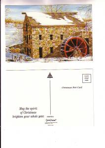 Waterwheel Beside Old Stone Building, Christmas, The Paper Magic Group