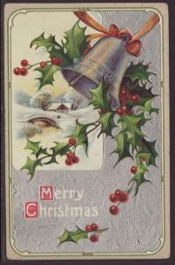 Merry Christmas,Holly,Bell Postcard