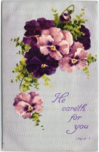 He Careth for you - 1 Peter V. 7 - purple floral religious greetings posted 1909